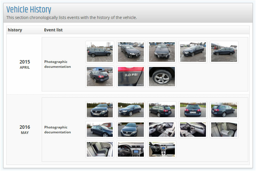 report VIN-Info Photographs of the vehicle