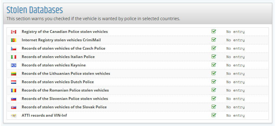 report VIN-Info Data bases of stolen vehicles